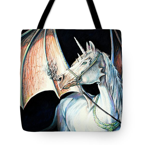 Tote Bag featuring the drawing Unicorn Dragon by Aaron Spong