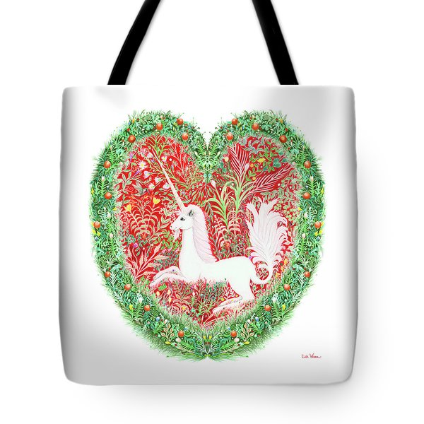 Unicorn Heart With Millefleurs Tote Bag
