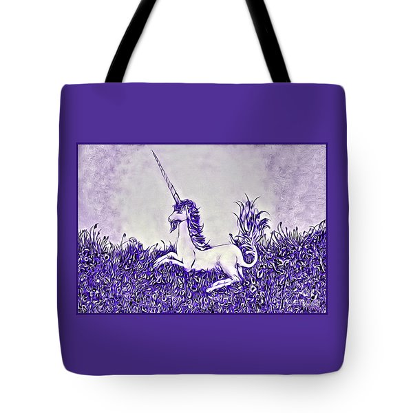 Tote Bag featuring the digital art Unicorn In Purple by Lise Winne