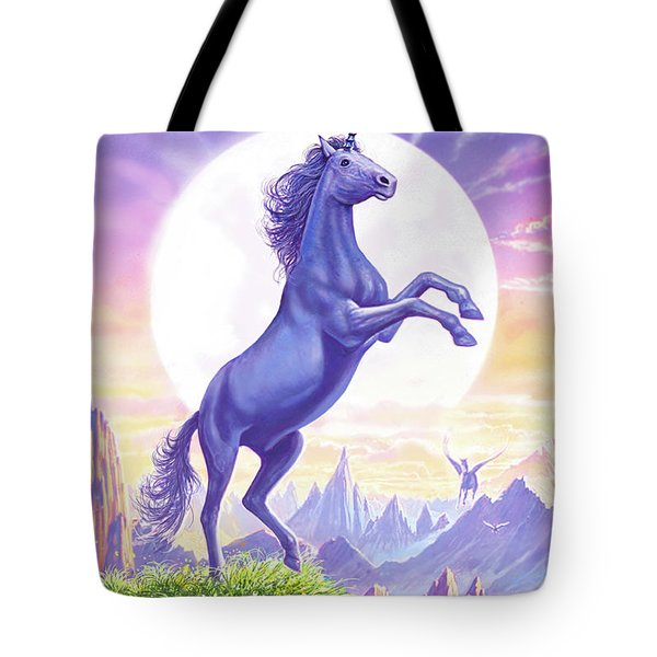Unicorn Moon Text Tote Bag