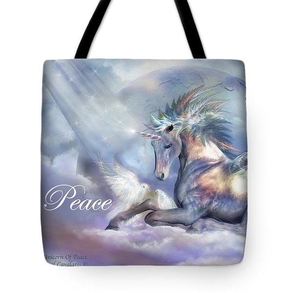 Unicorn Of Peace Card Tote Bag by Carol Cavalaris