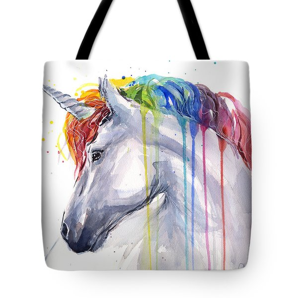 Unicorn Rainbow Watercolor Tote Bag