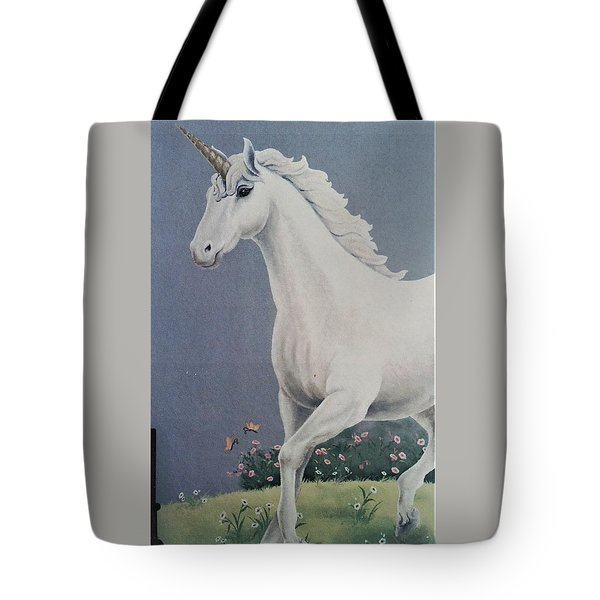 Unicorn Roaming The Grass And Flowers Tote Bag