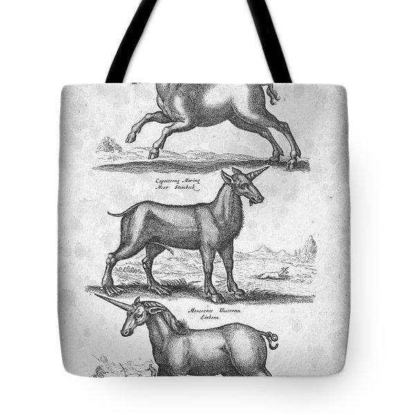 Unicorns 02 Historiae Naturalis 1657 Tote Bag by Aged Pixel