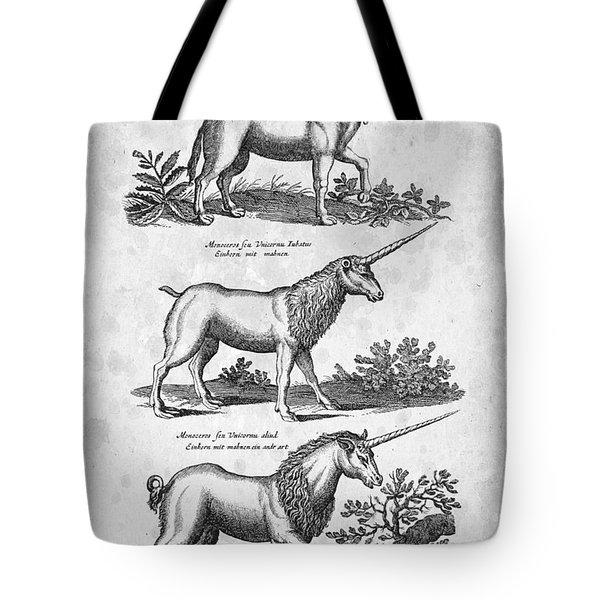 Unicorns 03 Historiae Naturalis 1657 Tote Bag by Aged Pixel