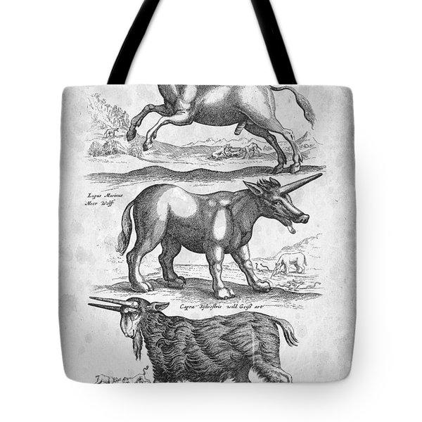 Unicorns Historiae Naturalis 1657 Tote Bag by Aged Pixel