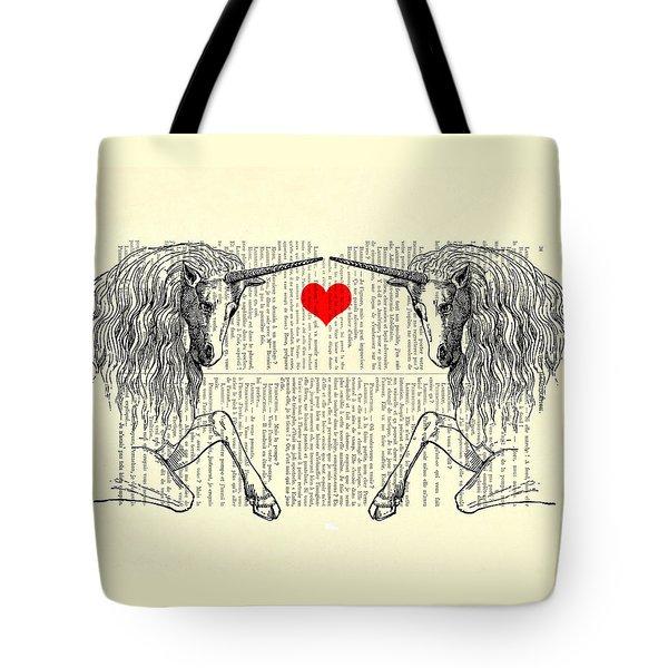 Unicorns Love Tote Bag by Madame Memento
