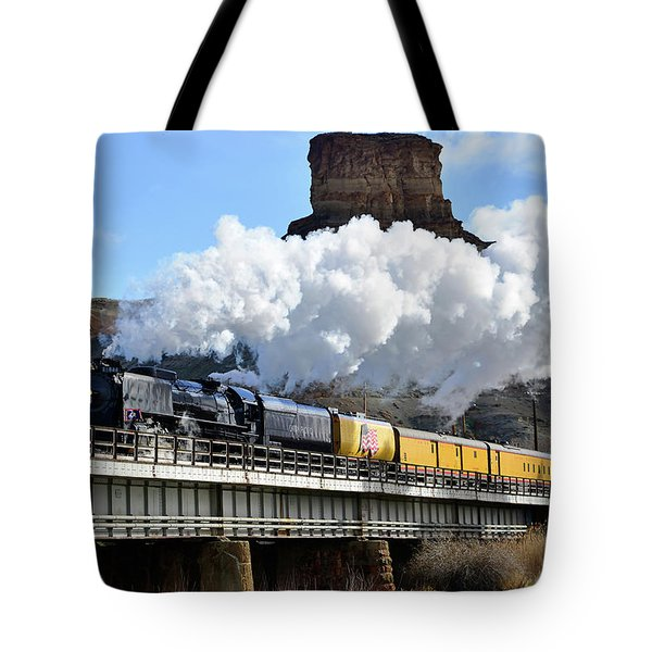 Union Pacific Steam Engine 844 And Castle Rock Tote Bag
