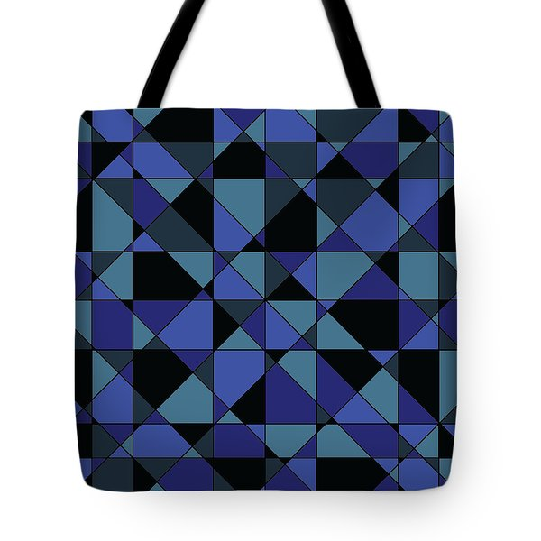 Tote Bag featuring the digital art Unique Bold Hip Blue Cyan Grey Black Geometric Pattern by Shelley Neff
