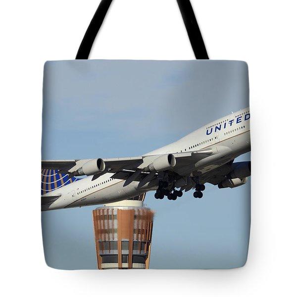United Boeing 747-422 N128ua Phoenix Sky Harbor January 2 2015 Tote Bag