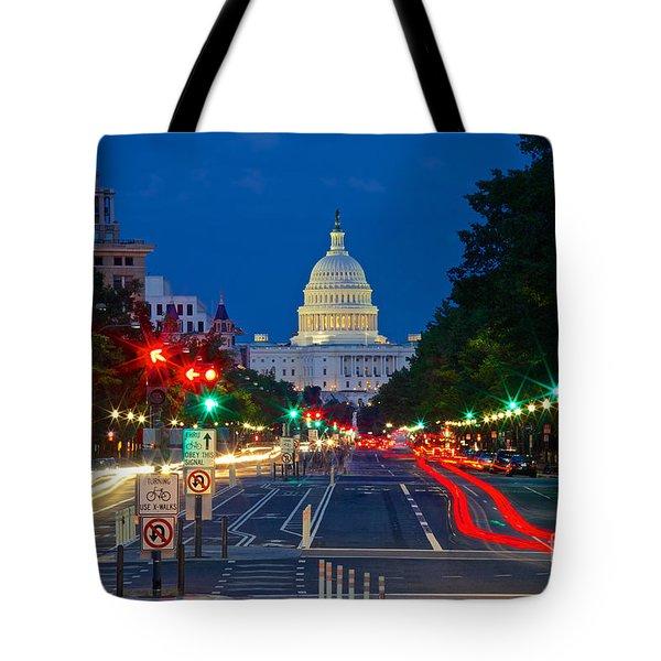 United States Capitol Along Pennsylvania Avenue In Washington, D.c.   Tote Bag