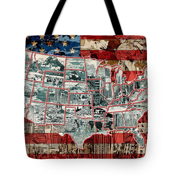 United States Drawing Collage Map 6 Tote Bag