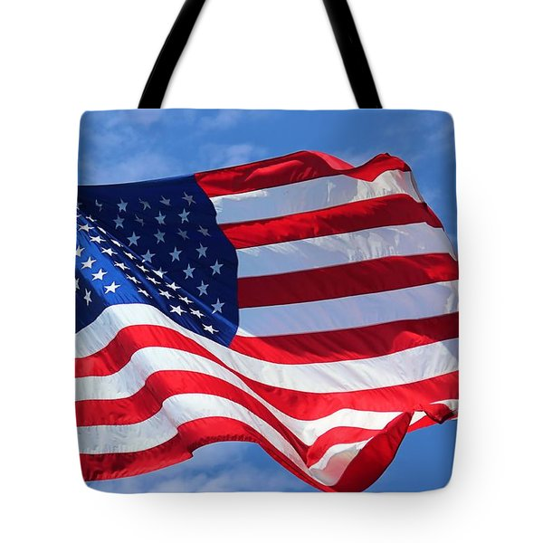 Tote Bag featuring the photograph United States Flag by Elizabeth Budd