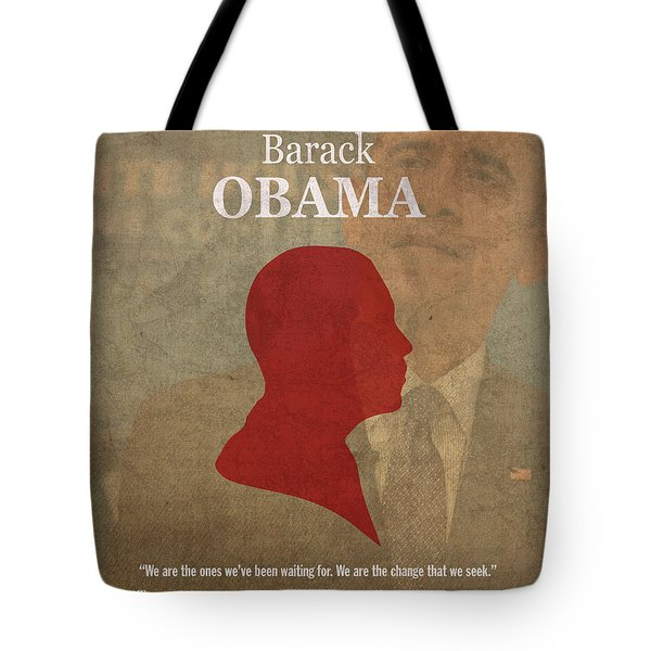 United States Of America President Barack Obama Facts Portrait And Quote Poster Series Number 44 Tote Bag by Design Turnpike