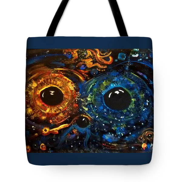Tote Bag featuring the painting Universe Watching by Michelle Audas