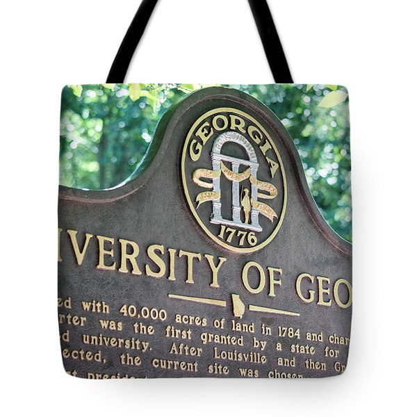 Tote Bag featuring the photograph University Of Georgia Sign by Parker Cunningham