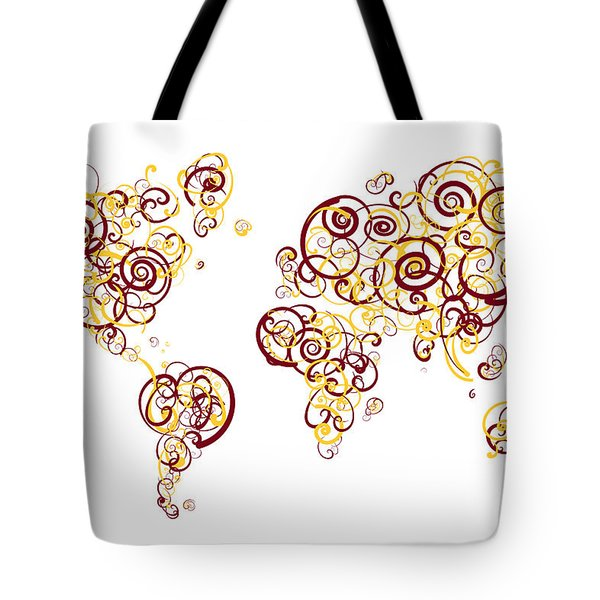 University Of Minnesota Twin Cities Colors Swirl Map Of The Worl Tote Bag