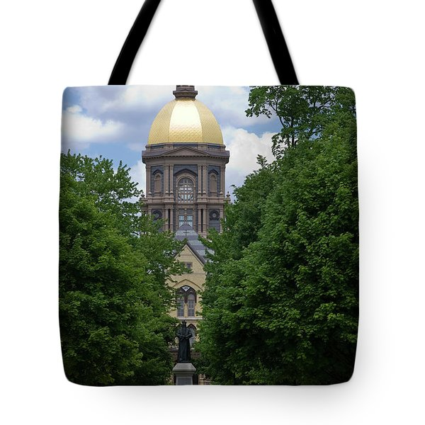 University Of Notre Dame Golden Dome Tote Bag by Sally Weigand