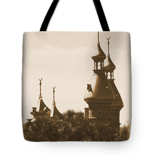 University Of Tampa Minarets With Old Postcard Framing Tote Bag by Carol Groenen