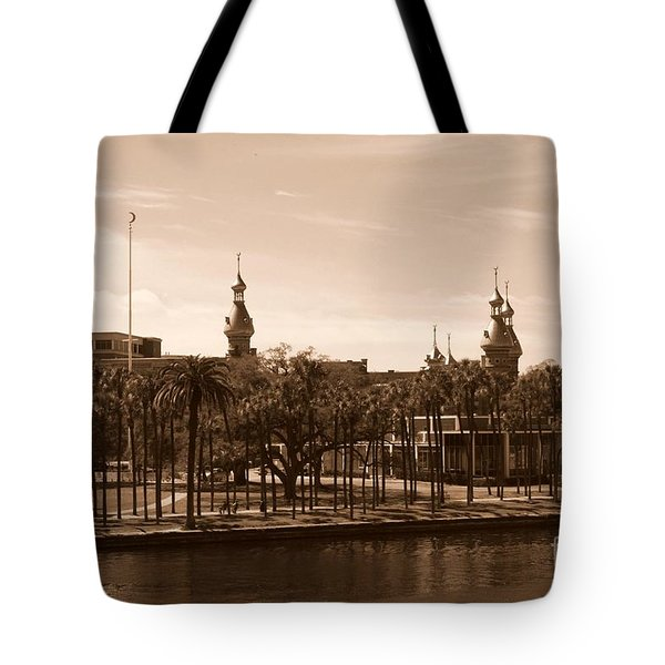 University Of Tampa With River - Sepia Tote Bag by Carol Groenen