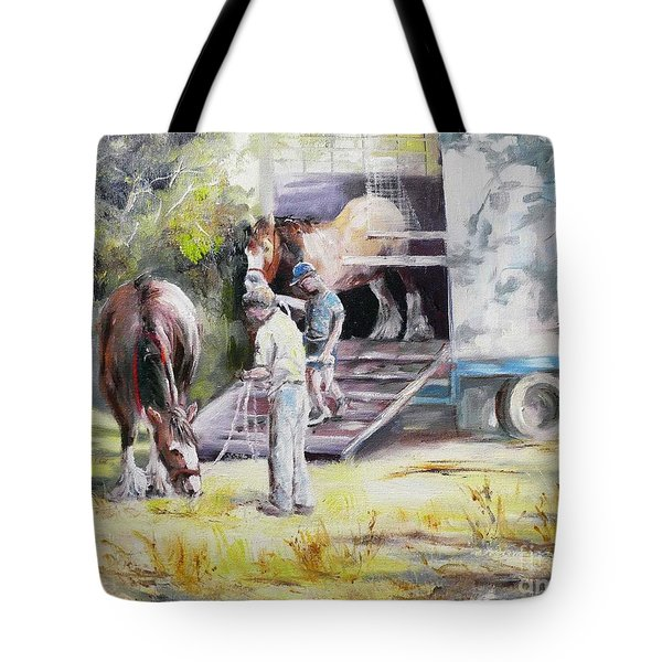 Unloading The Clydesdales Tote Bag
