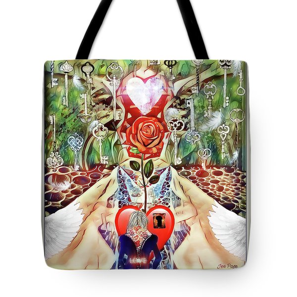 Tote Bag featuring the digital art Unlock Love by Jennifer Page