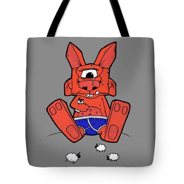 Uno The Cyclops Bunny Tote Bag by Bizarre Bunny