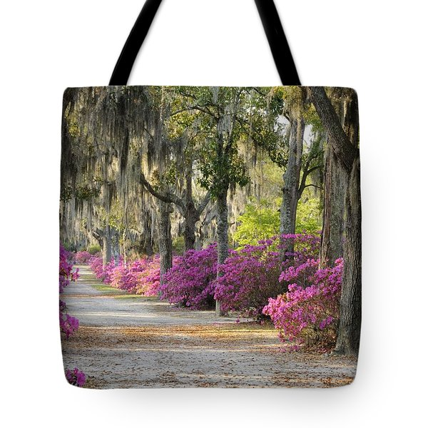 Unpaved Road With Azaleas And Oaks Tote Bag