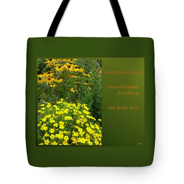 Tote Bag featuring the digital art Unpegging Wash Haiga by Judi and Don Hall