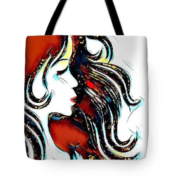Tote Bag featuring the digital art Unrestricted-abstract by Pennie McCracken