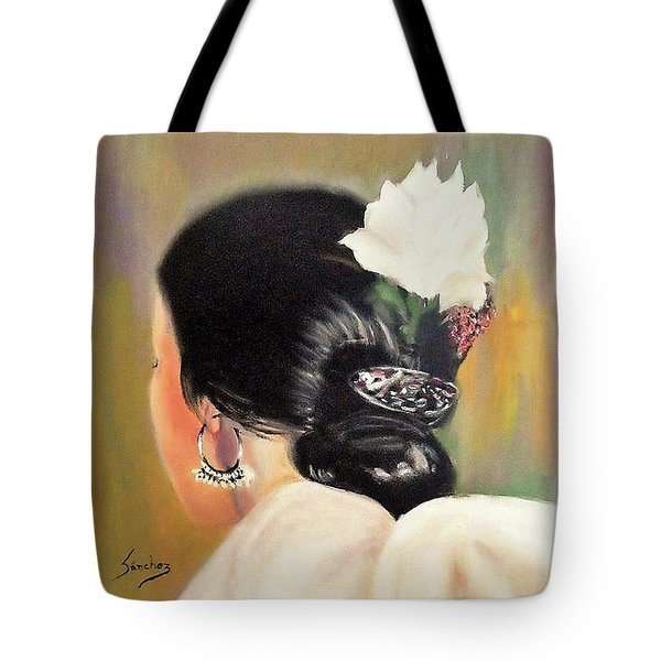 Untitled Dancer With White Flower Tote Bag by Manuel Sanchez
