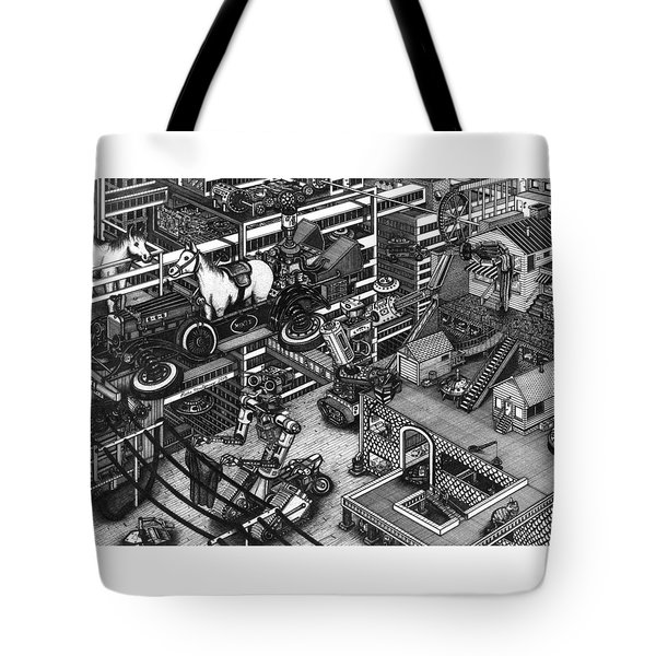 Tote Bag featuring the painting The Moxie Powered Horse Mobile And The Cleaning Robots  by Richie Montgomery