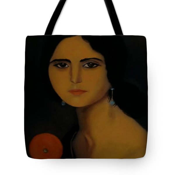 Untitled Woman With Orange Tote Bag
