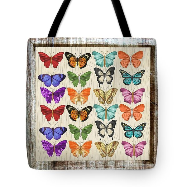 Colourful Butterflies Collage Tote Bag