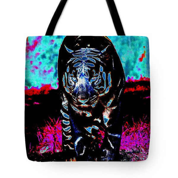 Tote Bag featuring the photograph Unusual Tiger On The Prowl by Maggy Marsh