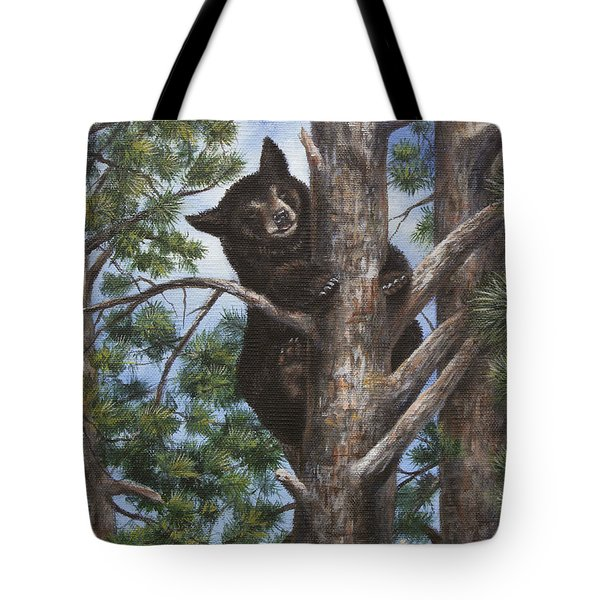Tote Bag featuring the painting Up A Tree by Kim Lockman