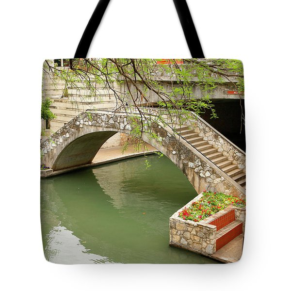 Tote Bag featuring the photograph Up And Over - San Antonio River Walk by Art Block Collections