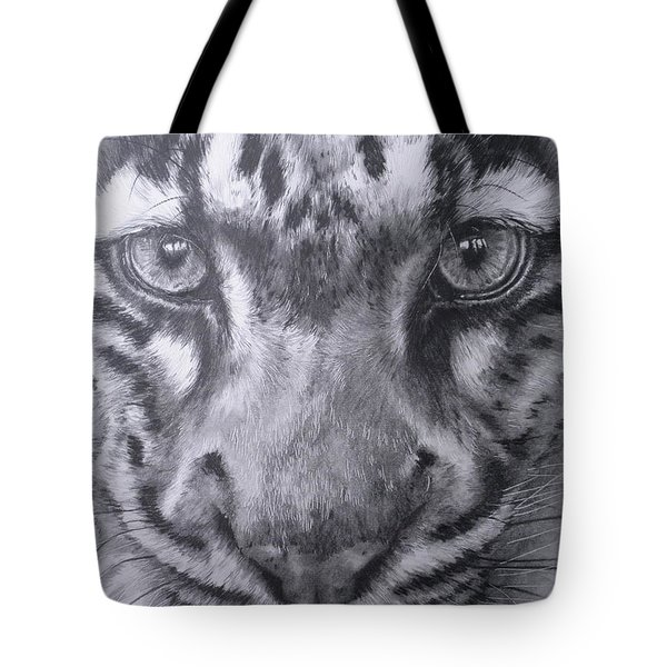 Up Close Clouded Leopard Tote Bag by Barbara Keith