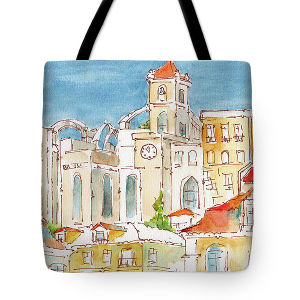 Tote Bag featuring the painting Up From Rossio Square by Pat Katz