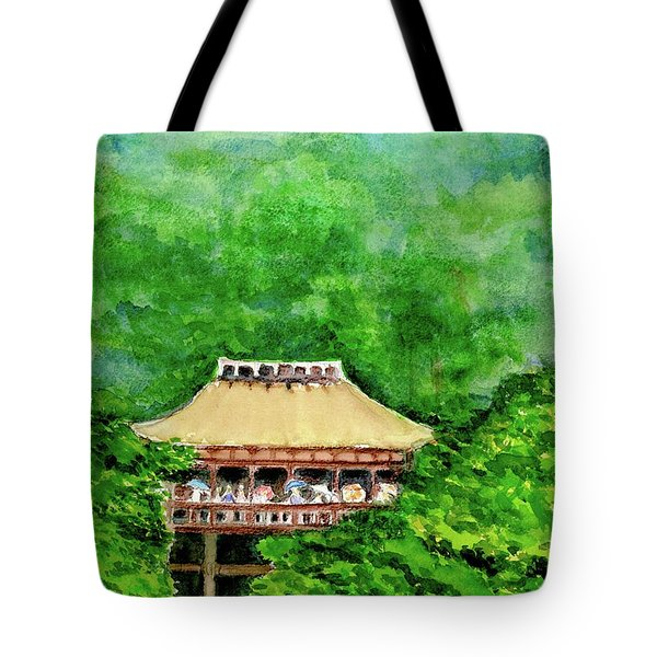 Tote Bag featuring the painting Up High Temple by Yoshiko Mishina