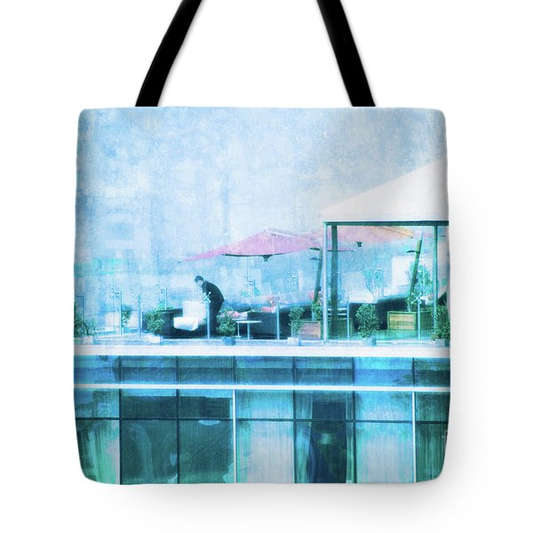 Tote Bag featuring the digital art Up On The Roof - II by Mary Machare