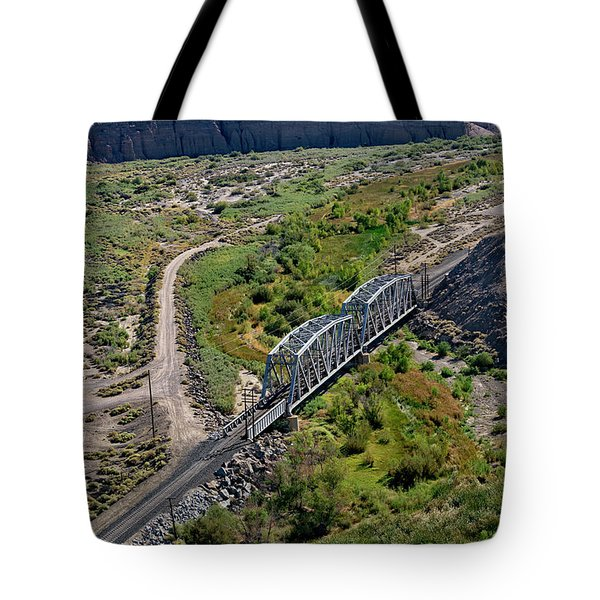 Tote Bag featuring the photograph Up Tracks Cross The Mojave River by Jim Thompson