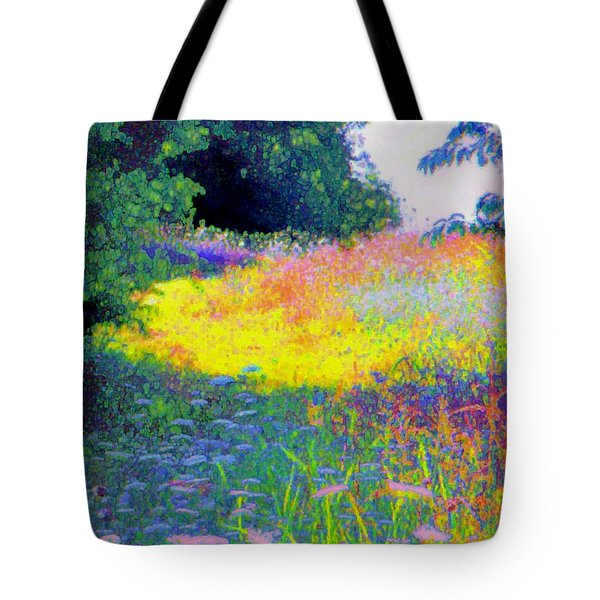 Uphill In The Meadow Tote Bag by Shirley Moravec