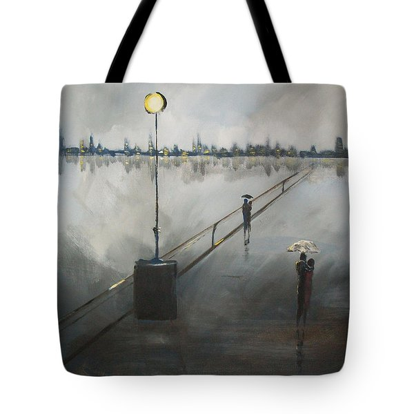 Tote Bag featuring the painting Upon The Boardwalk by Raymond Doward