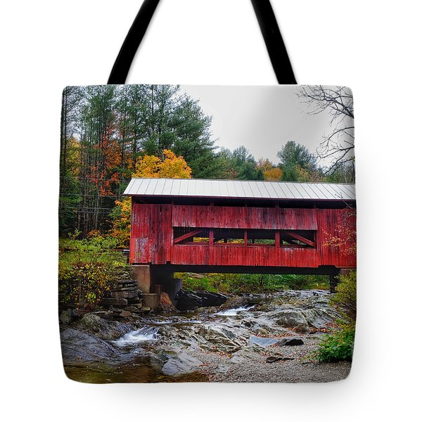 Upper Cox Brook Covered Bridge In Northfield Vermont Tote Bag