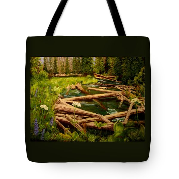 Tote Bag featuring the painting Upper Deschutes by Nancy Jolley