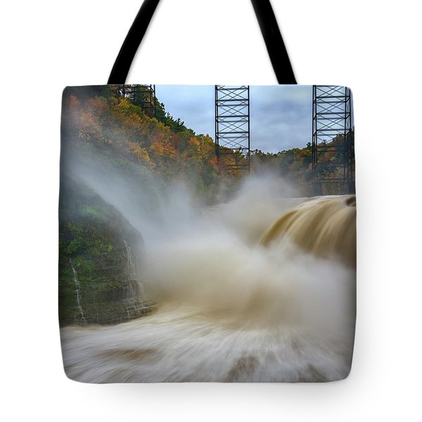 Upper Falls After A Storm Tote Bag