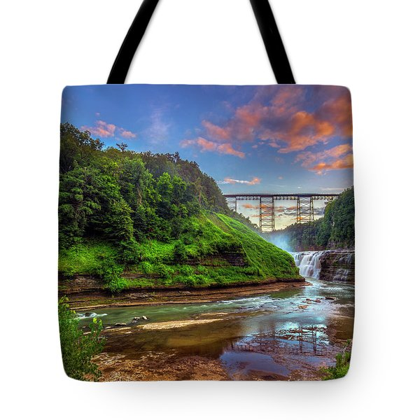 Upper Falls At Sunset Tote Bag by Mark Papke