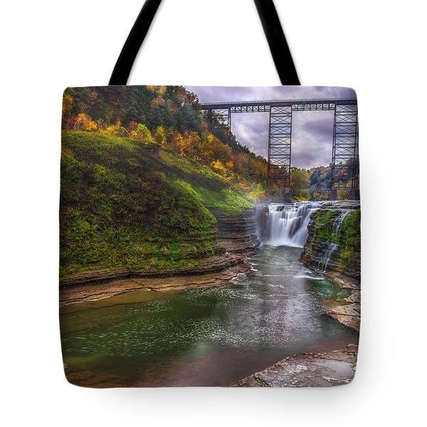 Upper Falls In Fall Tote Bag
