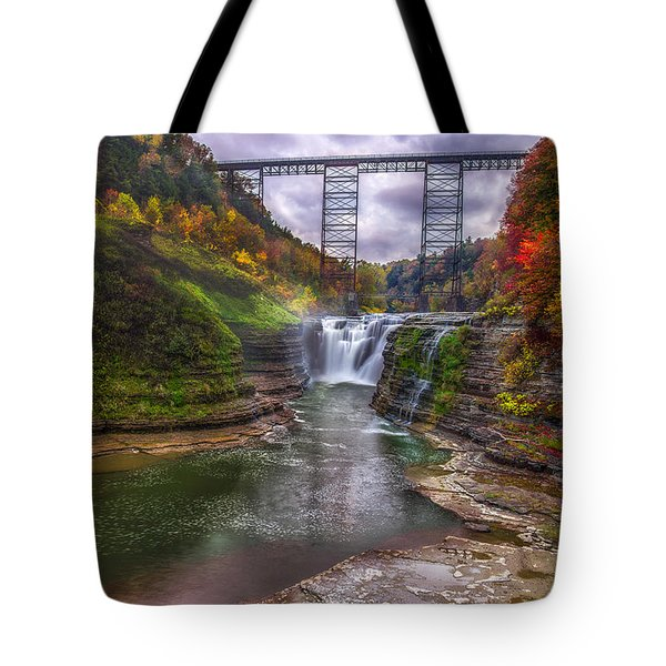 Upper Falls In Fall Tote Bag by Mark Papke